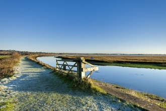 Farlington Marshes nature reserve in winter