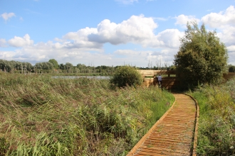 Boardwalk to the new viewing screens at Fishlake Meadows Nature Reserve