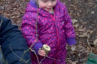 Toddler at Swanwick Lakes festive forest fun event 2017