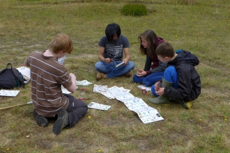 Young Naturalists identifying in the meadow at Blashford