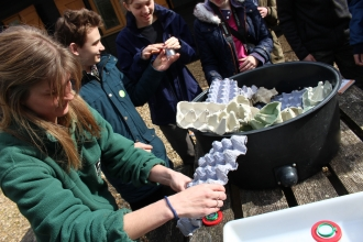 Young Naturalists looking through moth trap at Blashford Lakes