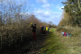 Young Naturalists cutting back hedge