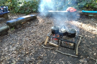 Cooking pots over campfire Swanwick lakes