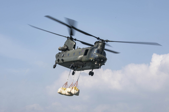 Chinook transporting the aggregate.