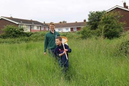 Volunteer and and child at Miltons Locks nature reserve