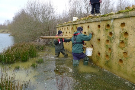 Refilling sand martin hide at Blashford Lakes nature reserve