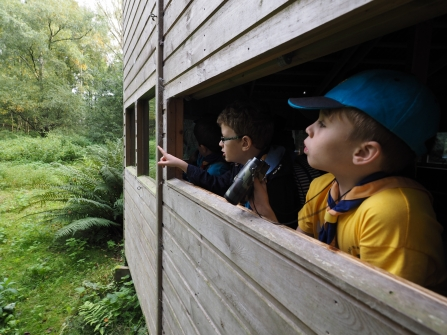 Children in bird hide at Blashford Lakes nature reserve