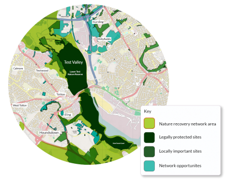 Test Valley local ecological network map