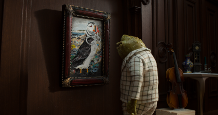 Toad hanging picture of puffin - Wilder Future campaign