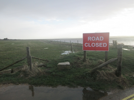 Hurst Spit road closed by flooding after Storm Ciara © Trudi Lloyd Williams