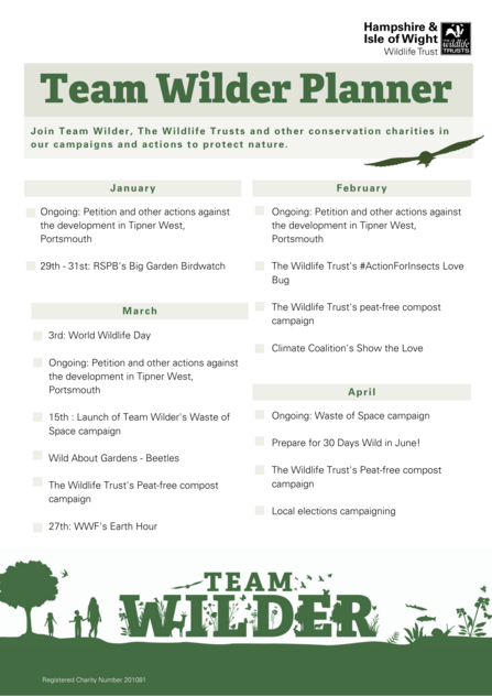 Team Wilder planner detailing campaigns and activities that are happening from Jan - April 2021