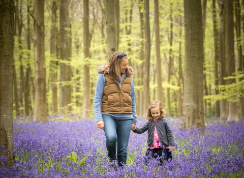 Family in bluebells © Caroline Jenkins Photography