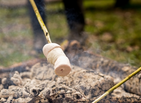 Cooking marshmallows over campfire © Adrian Clarke