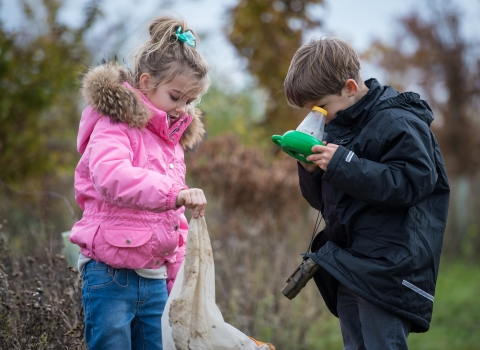 Children exploring wild places
