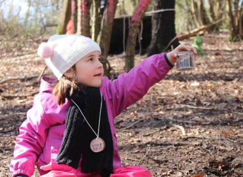 Worm hunting at Forest School at Swanwick Lakes