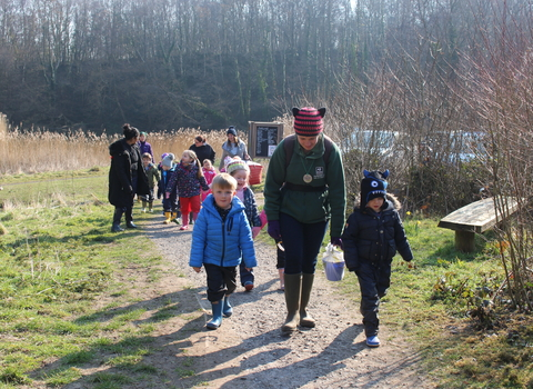Redlands Year R group walking to a Forest School session at Swanwick Lakes Nature Reserve on 17th March 2016